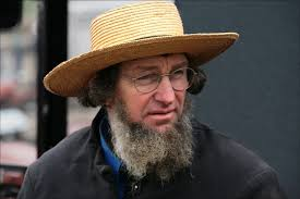 Amish man straw hat beard No google