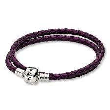 pandora 16 1 purple leather double bracelet
