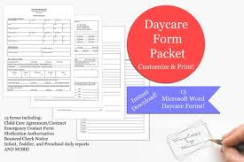 Daycare Form Fascinating Daycare Form Pack Daycare Records Daycare Forms Editable Etsy