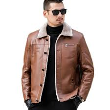 plus size warm winter sheepskin mens leather jacket men leisure coat men fur lining jackets motorcycle