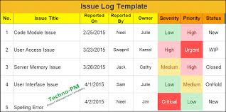 What Is An Issue Log Download Issue Log Template Excel