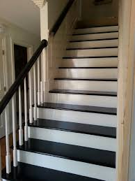 Removing Stair Carpet Black Painted Steps And Handrail After Carpet Removal New
