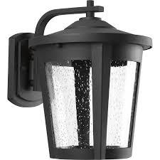 progress lighting east haven led 12 in h led black outdoor wall light energy star