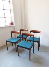set of 4 danish teak dining chairs with teal seats danish furnituredining