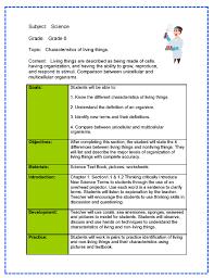 teacher lesson plan template science lesson plan sample
