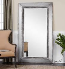 Delighful Silver Floor Mirror Oversized Gray Full Length Leaner For Modern Design