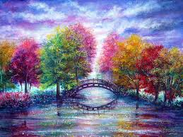 nature painting a bridge to cross by ann marie bone