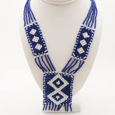navajo bead designs. Vintage Glass Seed Bead Necklace, Native American Style, Geometric Design Navajo Designs