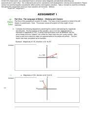 marked % physics assignment physics assignment part  8 pages marked 73% physics 20 assignment 1