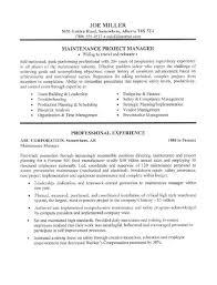 Maintenance Manager Resume Sample Maintenance Resume Sample