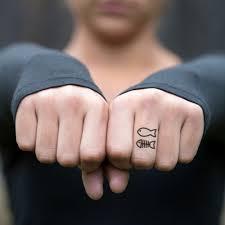 Cute Fish Finger Temporary Tattoo Sticker Set Of 6