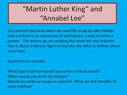 "martin luther king"" and ""annabel lee"" ppt video online  martin luther king and annabel lee"