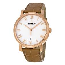 chopard white dial 18kt rose gold brown leather men s watch 161278 5005