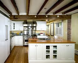 kitchen with track lighting. Exposed Rafter Ceiling Kitchen Traditional With White Cabinets Track Lighting Wood Flooring