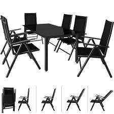 Salon de jardin Bern 6 et 1 Anthracite Ensemble table et chaises ...