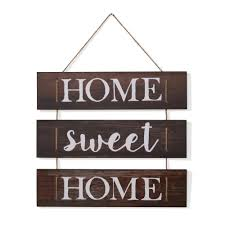 danya b inspirational home sweet home wooden wall hanging sign with rope
