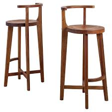 pair studio crafted wooden bar stools with rounded back rests for