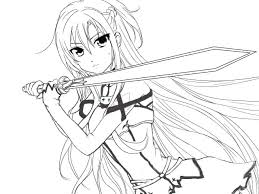 Anime Girl Coloring Pages Online Pdf Sword Art Page Cute Colorin Boy