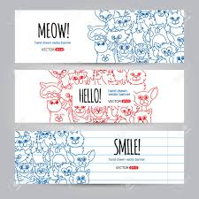 Funny Face Templates Set Of Horizontal Banners Templates With Funny Cats Face Background