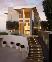 Exterior:Cool Modern Outdoor Stairs With Steps Lighting And Clear Glass  Baluster Also Cubical White
