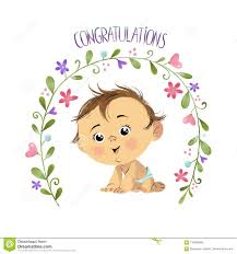 Congrats Baby Born Congratulations With Baby Boy Stock Illustration