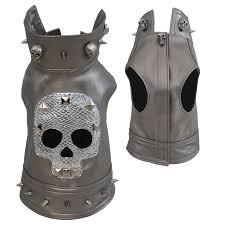 metallic silver rocker skull leather jacket