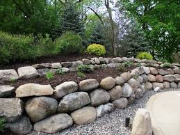 boulder retaining wall in long lake around pool deck