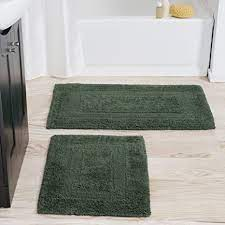 Amazon Com Cotton Bath Mat Set 2 Piece 100 Percent Cotton Mats Reversible Soft Absorbent And Machine Washable Bathroom Rugs By Lavish Home Green Home Kitchen