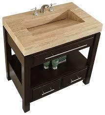 36 inch espresso bathroom vanity with single sink travertine top modern