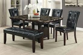 f2460 1750 1751 6 pc ah espresso finish wood faux marble top dining table set bench