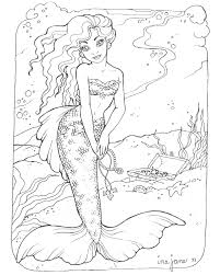 Adult Coloring Pages Of Mermaids Coloring Pages Of Barbie Mermaids