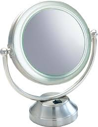 fluorescent coolitetm lighted 8 1 2 double sided swivel vanity cosmetic mirror