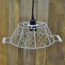 white wire pendant light small white metal lamp shade w socket white wire cage pendant light