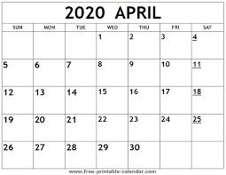 Free Printable April Calendar 2020 Printable 2020 April Calendar Free Printable Calendar Com