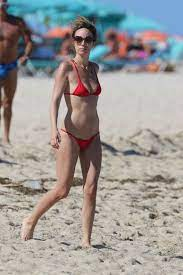 catt-sadler-in-red-bikini-on-the-beach ...