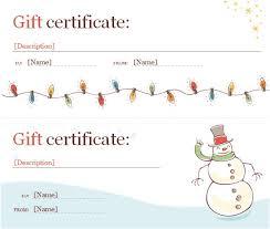 Printable Christmas Certificates Free Printable Christmas Gift Certificate Template Word Word