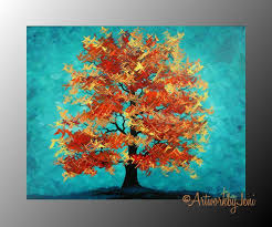 Items similar to Fall aRt Autumn Tree pAiNtiNg Acrylic on CaNvAs LaNdScApE  Thick Textured Colorful Art x by ArtworkbyJeni -