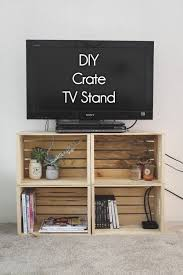 check out how to build a very easy diy tv stand form wooden crates