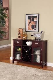 bryson dark cherry wood contemporary wine rack sideboard display console table with storage drawers shelf glass cabinet doors com