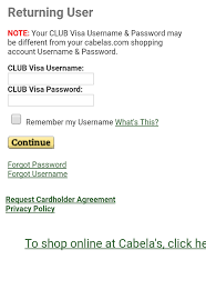 accessing cabela s credit card account from a mobile device