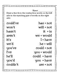 first grade contraction worksheets - Google Search | Contractions ...