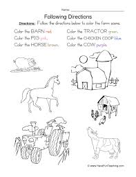 Following Directions Worksheets Kindergarten Free Worksheets ...