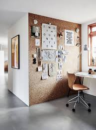 office idea. Modern Home Office Workspace Featuring A Cork Board Wall And Leather Chair - Contemporary Decorating Ideas Idea