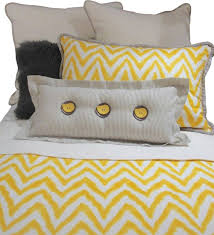 queen gray yellow and white chevron bedding and pillow set