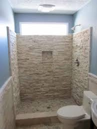Unique shower no door with textured wall system and a toilet fixture a  bathroom wall niche