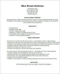 Macy Sales Associate Sample Resume