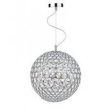 fiesta chrome and crystal glass globe ceiling pendant 12lt