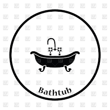 Thin circle design of bathtub icon Royalty Free Vector Clip Art ...