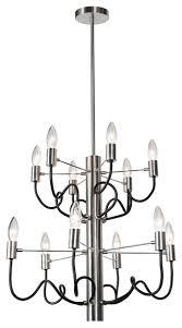 barlow 12 light chandelier satin chrome and matte black