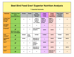 Parrot Diet Chart Superior Nutrition Bbfe Complete Analysis Best Bird Food